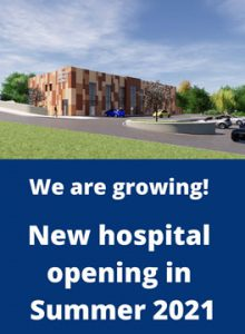 """Render of new hospital captioned """"We're growing! New hospital opening in Summer 2021"""""""